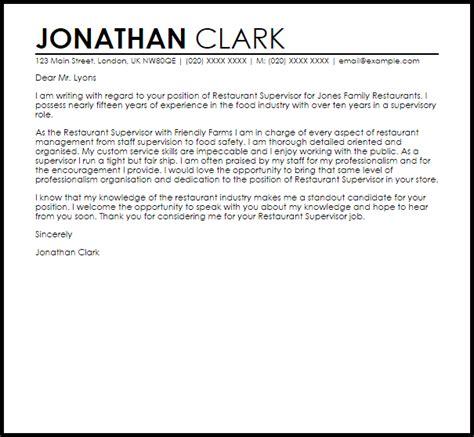 Restaurant Resume Cover Letter by Restaurant Supervisor Cover Letter Sle Livecareer