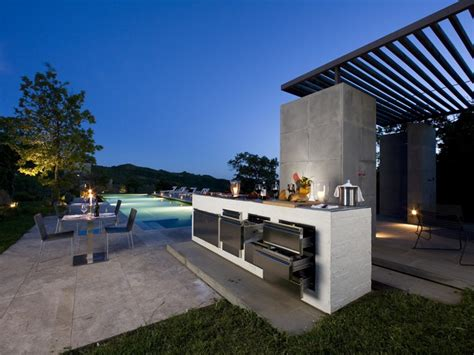 contemporary outdoor kitchen step out to enjoy the modern outdoor kitchens 2540
