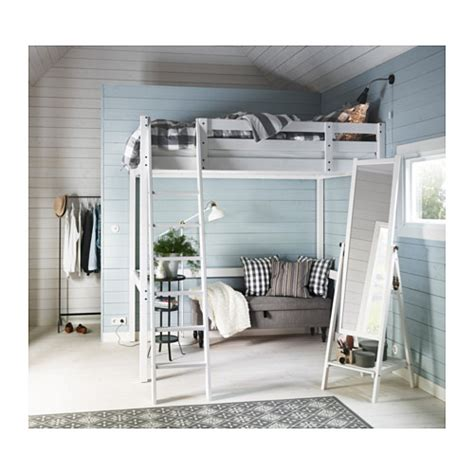 stor 197 loft bed frame white stain 140x200 cm ikea