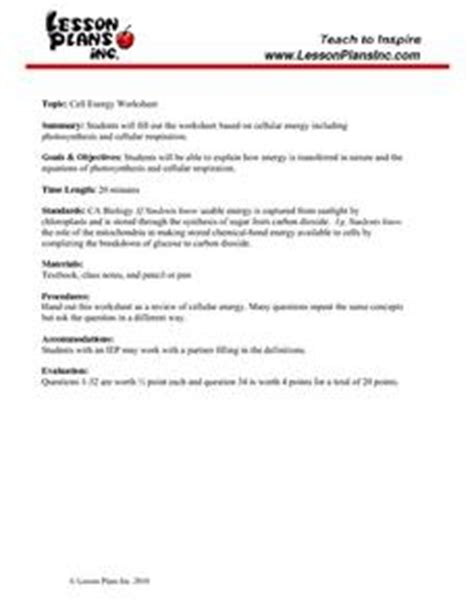 Cell Energy Study Guide 9th  12th Grade Worksheet  Lesson Planet