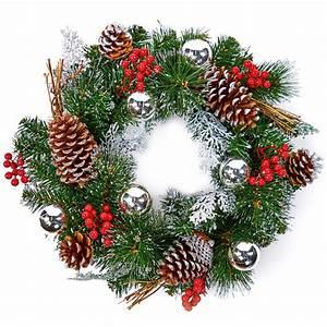 40cm, Silver, Decorative, Christmas, Wreath