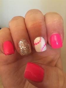 Pink softball nails with glitter. | Nails, Softball nails ...