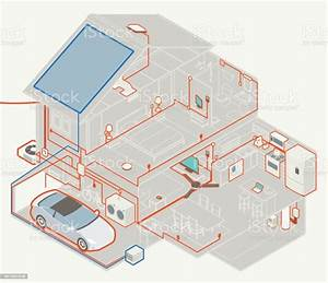 House Electrical Diagram Stock Illustration