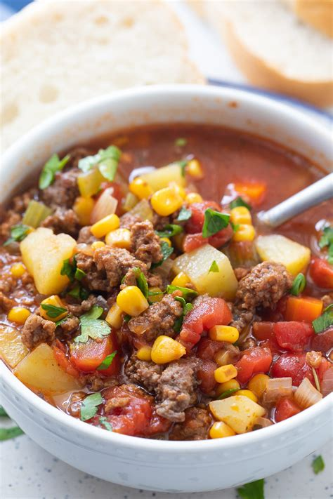 easy hamburger soup recipe ground beef  vegetable soup
