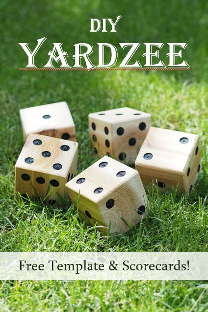 diy yardzee yard dice  template  scorecards diy