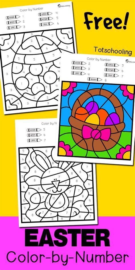 Easter Color By Number  Totschooling  Toddler, Preschool, Kindergarten Educational Printables