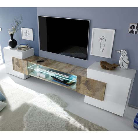 meuble tv blanc et bois meuble t 233 l 233 blanc laqu 233 brillant et couleur bois sofamobili