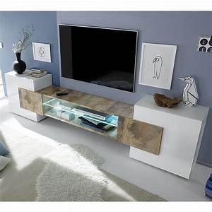 Meuble Tv Blanc Laqué : meuble t l blanc laqu brillant et couleur bois sofamobili ~ Teatrodelosmanantiales.com Idées de Décoration