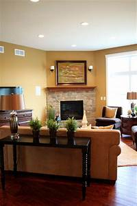 Great room traditional living room milwaukee by k for Furniture layout for living room with corner fireplace