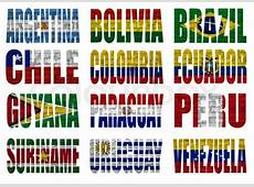 South America countries flag words Stock Photo Colourbox