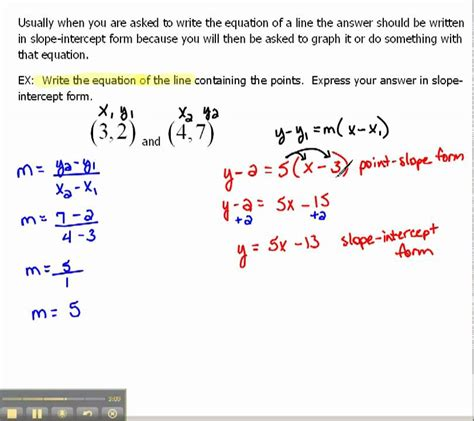 2x y 7 in slope intercept form write an equation of a line in slope intercept form 1 6