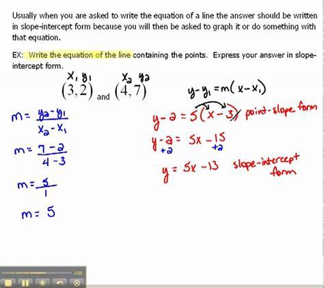 Write An Equation Of A Line In Slopeintercept Form 16
