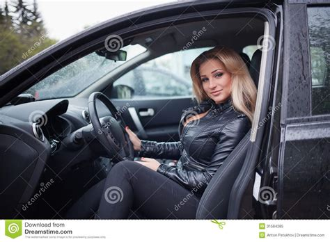 Blond Woman In Car Stock Image. Image Of Vehicle, Adult