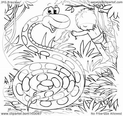 Snake Coloring Giant Outline Boy Clipart Illustration