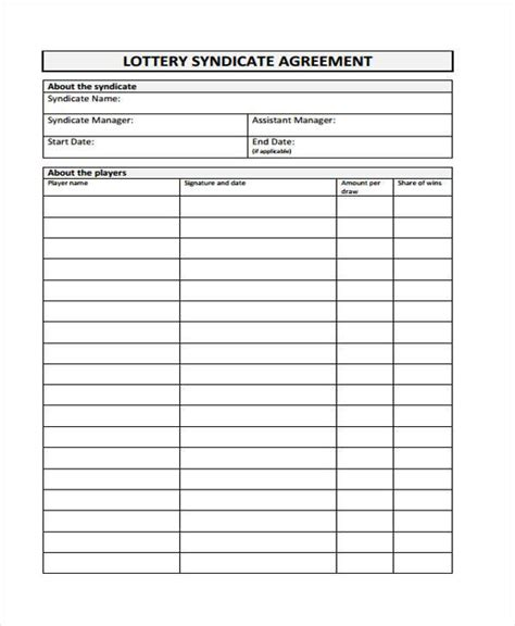 Lottery Contract Template by 8 Lottery Syndicate Agreement Form Sles Free Sle