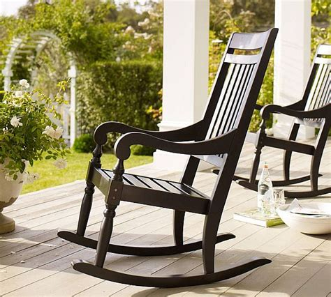 handcrafted wooden black outdoor rocking chair