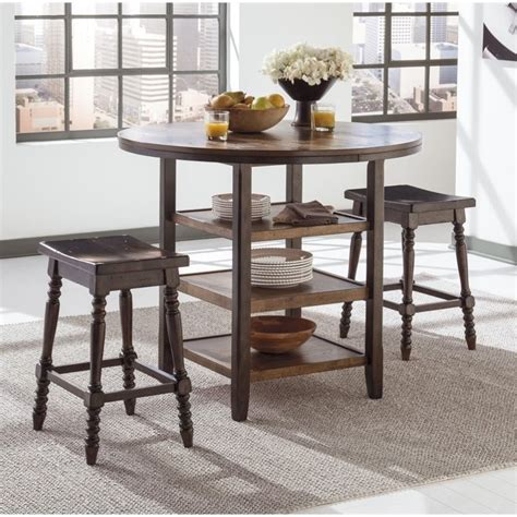 Ashley Whitesburg 5 Piece Round Dining Set In Brown And
