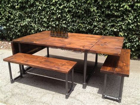 Handmade Wood And Galvanized Pipe Drop-leaf Table And