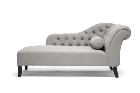 chaise studio baxton studio aphrodite tufted putty gray linen modern