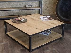Table Basse Alinéa Bois : table basse en bois et metal industrielle style industriel micheli design ~ Teatrodelosmanantiales.com Idées de Décoration