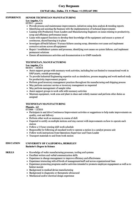 technician manufacturing resume sles velvet