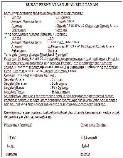Download contoh surat jual beli tanah format.doc. Contoh Surat Pernyatan Jual Beli Tanah   ANEKA SUMBER