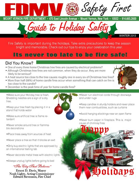 safety bureau department offering safety tips for the holidays