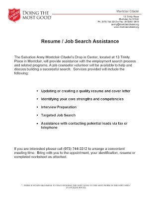 Resume Writing Assistance by Salvation Army Search Resume Writing Assistance