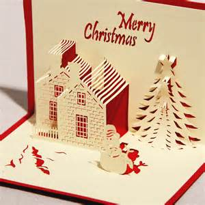 3d greeting card castle in winter handmade paper craft 3d pop up christmas card greeting jpg