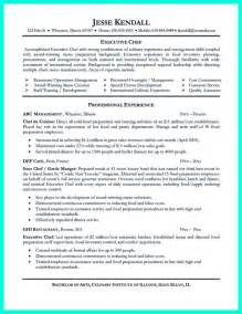 resume for chefs exles executive chef resume template