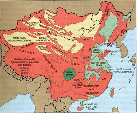 physical map  china   printable relief maps topography river systems climate zones