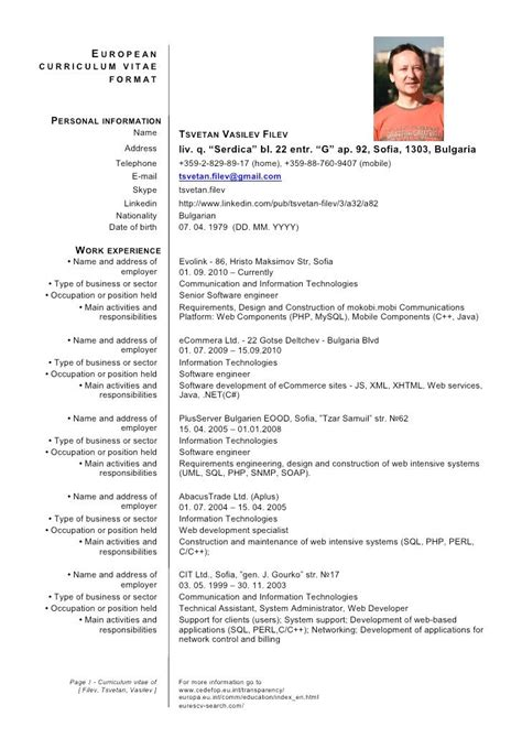 cv template europe curriculum vitae format resume