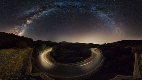 Nature Landscape Starry Night Road Milky Way Hill