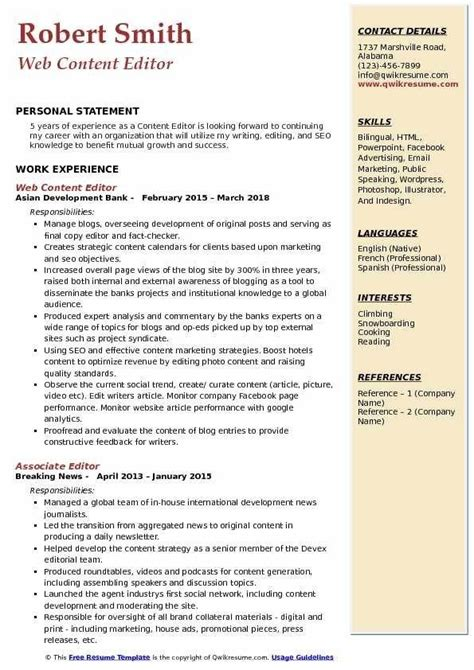 great editor cv template picture