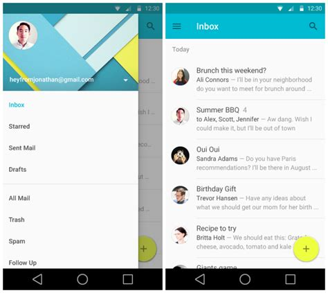 android email sneak peek at android l s redesigned settings gmail