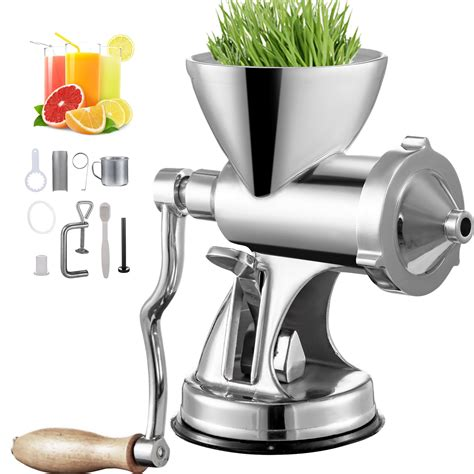 juicer wheatgrass manual grinder wheat spremiagrumi grass grano base ventosa manuale suction cup estrattore duty heavy leafy stainless steel hand