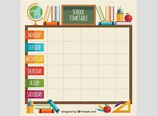 Classroom elements with school timetable Vector Free
