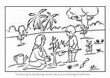 Planting Tree Draw Drawing Scene Step Plantation Learn Scenes Tutorials sketch template
