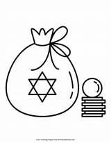 Hanukkah Gelt Coloring Primarygames Printable sketch template