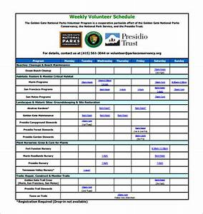 volunteer schedule template 10 free sample example With volunteer calendar template