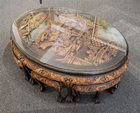 Fabulous bronze coffee table of a chinese style dragon with a ball in his claws on a 4 legged stool, often finished in traditional red and gold. Chinese Oval Coffee Table with Hand-Carved King in Palace ...