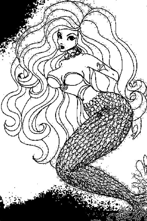 realistic mermaid coloring pages and print for free