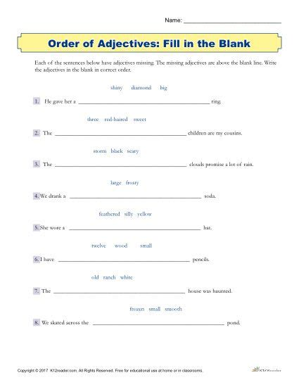 fill in the blank printable 3rd 5th grade adjectives worksheet