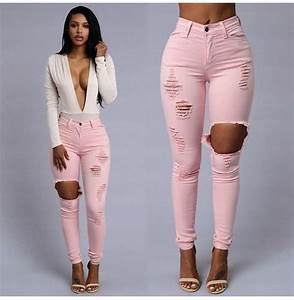 Blouse pink white low cut ripped jeans cute heels black sexy ripped jeans instagram ...