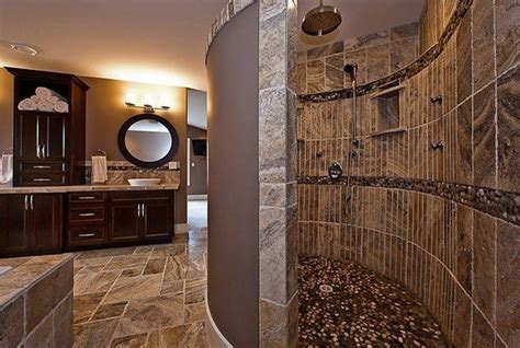 modern doorless shower   bathroom