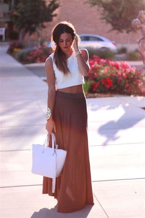 Maxi + crop top long brown skirt summer outfits womens fashion clothes style apparel clothing ...