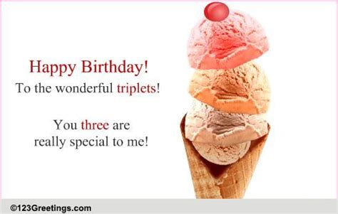 triplets birthday   specials ecards greeting