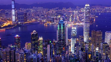 asia city hong kong china port victoria harbour skyscrapers buildings lit night light desktop