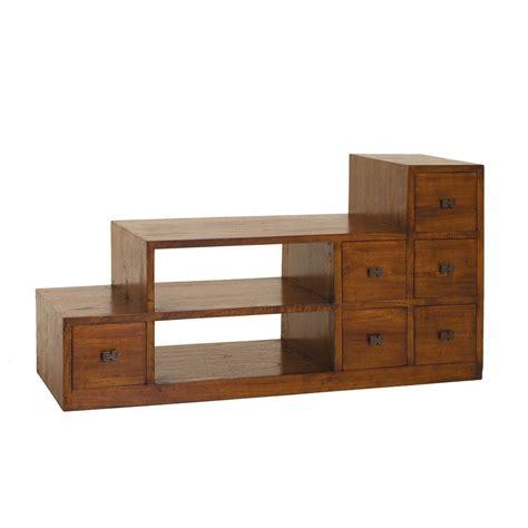 meuble tv escalier acajou verni 105 x h56cm lola pier import