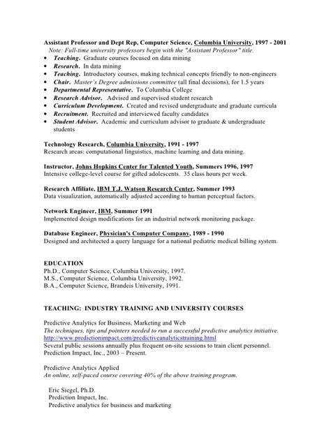 resume for work in predictive analytics